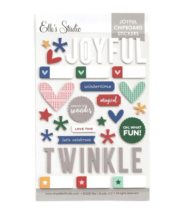 Scrapbooking  Elles Studio - Joyful Chipboard Stickers kit