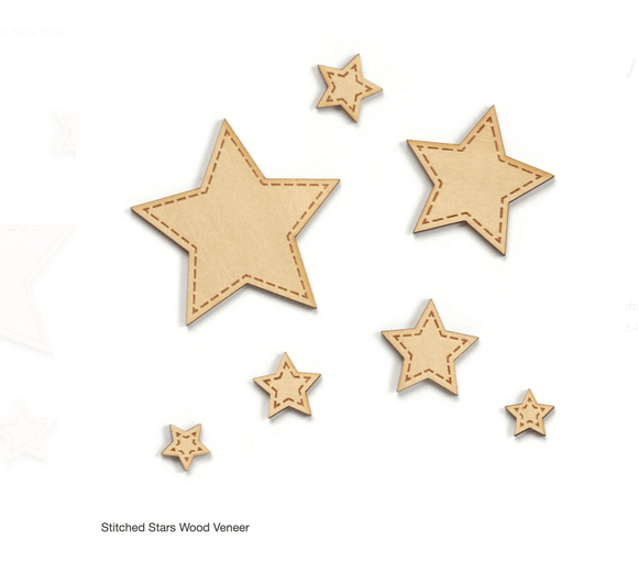 Scrapbooking  Elles Studio - Stitched Stars Wood Veneer kit
