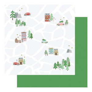 "Scrapbooking  Wishmas Double-Sided Cardstock 12""X12"" - Christmas Map Paper 12""x12"""