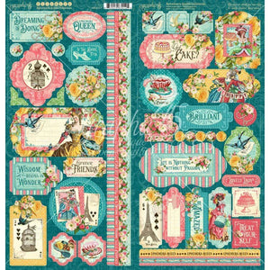 "Scrapbooking  Ephemera Queen Cardstock Stickers 12""X12"" Paper 12""x12"""