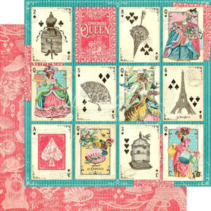 "Scrapbooking  Ephemera Queen Double-Sided Cardstock 12""X12""- A Winning Hand Paper 12""x12"""