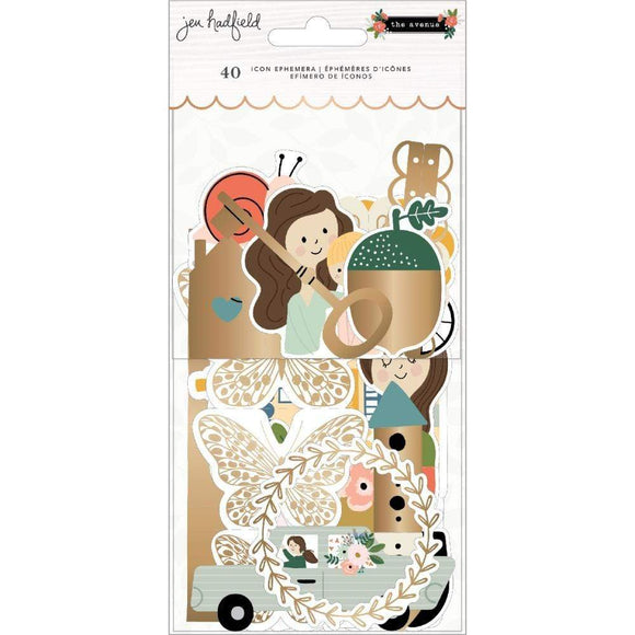 Scrapbooking  Jen Hadfield The Avenue Ephemera Cardstock Die-Cuts 40/Pkg Icons W/Foil Accents ephemera