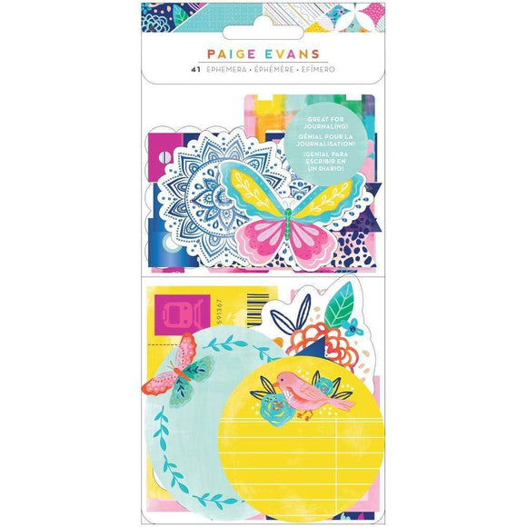 Scrapbooking  Paige Evans Go The Scenic Route Ephemera Cardstock Die-Cuts Journal, 41/Pkg Puffy Stickers