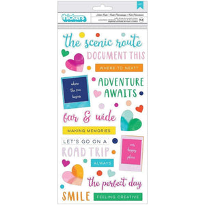 Scrapbooking  Paige Evans Go The Scenic Route Thickers Stickers 154/Pkg Scenic Route Phrase/Puffy Puffy Stickers