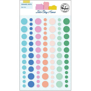 "Scrapbooking  Let's Stay Home Enamel Dot Stickers 84pk Paper 12""x12"""