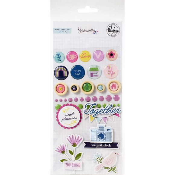 Scrapbooking  Noteworthy Mixed Embellishment Pack 41/Pkg Paper 12x12