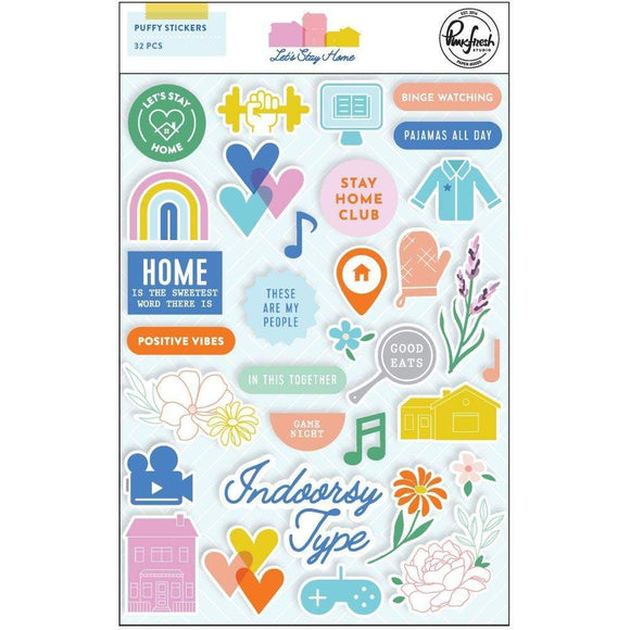Scrapbooking  Let's Stay Home - Puffy Stickers 32pk Puffy Stickers