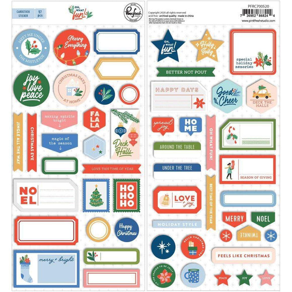 Scrapbooking  Oh What Fun Cardstock Stickers -57pk stickers