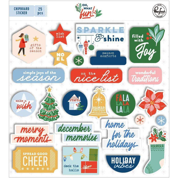 Scrapbooking  Oh What Fun Chipboard Flair - 25pk stickers