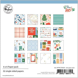 "Scrapbooking  Oh What Fun Single-Sided Paper Pack 6""X6"" 32/Pkg , 16 Designs/2 Each stickers"
