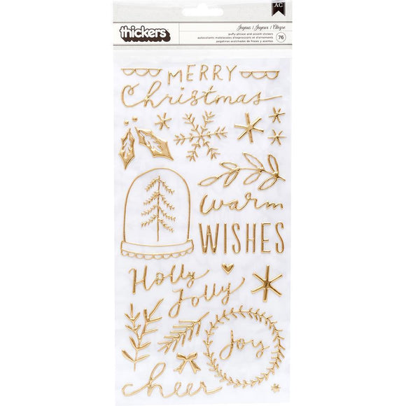 Scrapbooking  Merry Days Thickers Stickers 76/Pkg Joyous Phrase/Gold Puffy Alphas