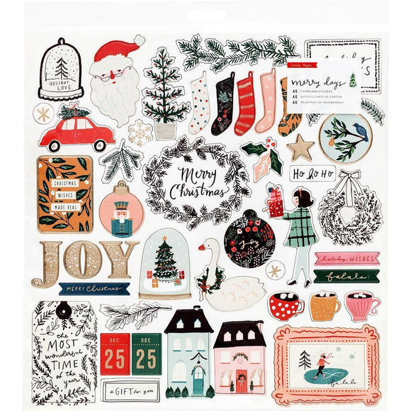 Scrapbooking  Merry Days Chipboard Stickers 46/Pkg W/Gold Foil Accents Chipboards