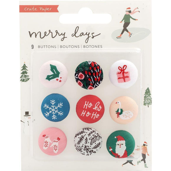 Scrapbooking  Merry Days Adhesive Fabric Buttons 9/Pkg Embellishments