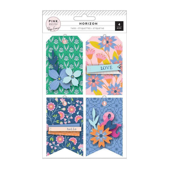 Scrapbooking  Paige Evans Horizon Layered Cardstock Tags 4/Pkg Ephemera