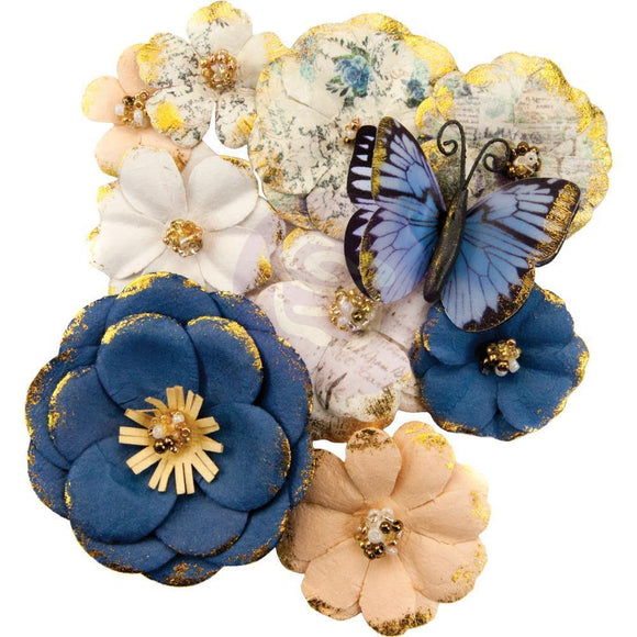 Scrapbooking  Georgia Blues Mulberry Paper Flowers 10/Pkg Madison flowers