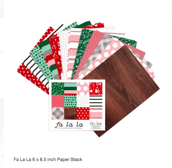 Scrapbooking  Elles Studio - Document December Fa La La 6 x 8.5 inch Paper Stack kit