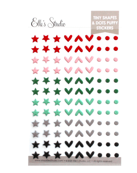 Scrapbooking  Elles Studio - Document December Tiny Shapes & Dots Puffy Stickers kit