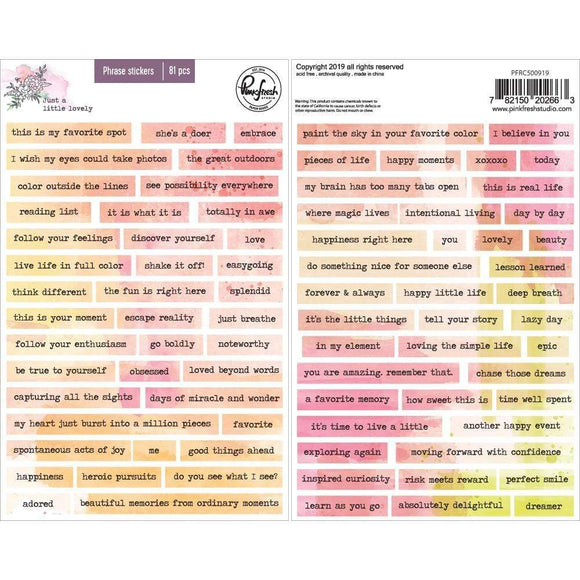 Scrapbooking  Just A Little Lovely Cardstock Phrase Stickers , 81/Pkg Paper 12x12