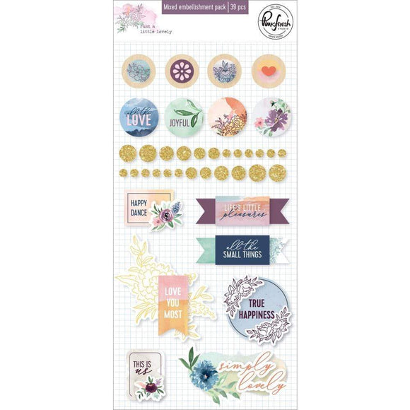 Scrapbooking  Just A Little Lovely Mixed Embellishment Pack 39/Pkg Paper 12x12