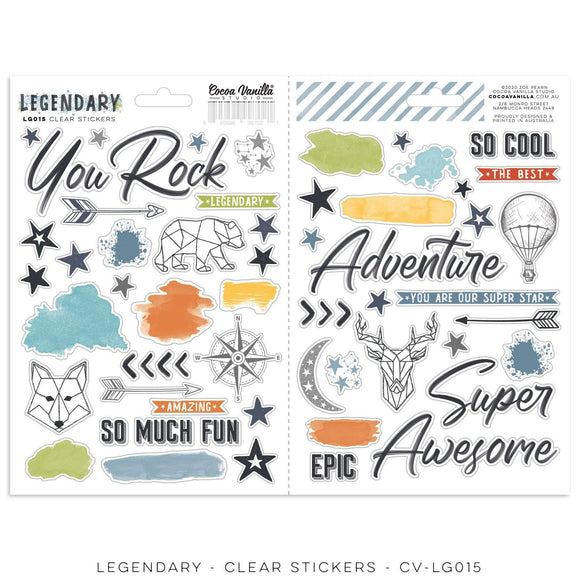 Scrapbooking  Legendary Clear Stickers Paper 12x12