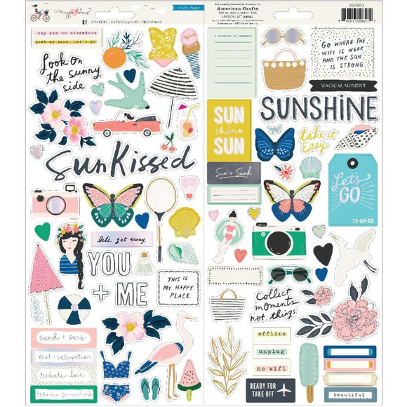 Scrapbooking  *** More Arriving Shortly***Maggie Holmes Sunny Days Cardstock Stickers 87/Pkg W/Iridescent Accents Paper 12x12