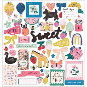 Scrapbooking  Maggie Holmes Sweet Story Chipboard Stickers 55/Pkg Paper 12x12