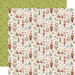 "Scrapbooking  Simple Stories Holly Jolly Double-Sided Cardstock 12""X12"" - Oh What Fun Paper 12x12"