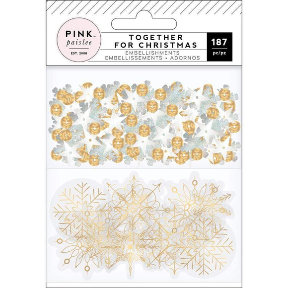 Scrapbooking  Together For Christmas Mixed Embellishments Acetate W/Gold Foil & Sequins Paper 12x12