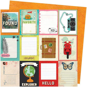 "Scrapbooking  Vicki Boutin Let's Wander Double-Sided Cardstock 12""X12"" - Wish You Were Here Paper 12x12"