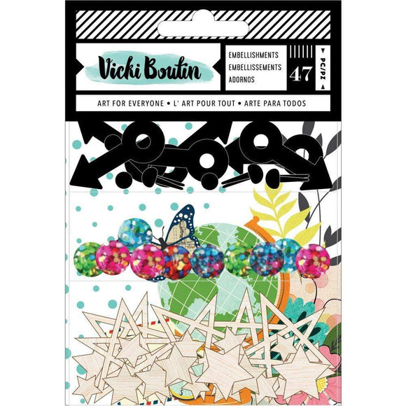 Scrapbooking  Vicki Boutin Let's Wander Embellishment Pack Paper 12x12