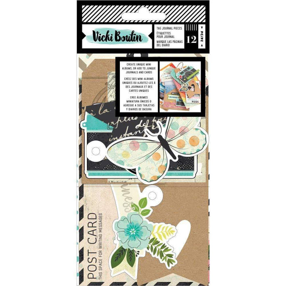 Scrapbooking  Vicki Boutin Let's Wander Tags & Journaling Pieces Paper 12x12