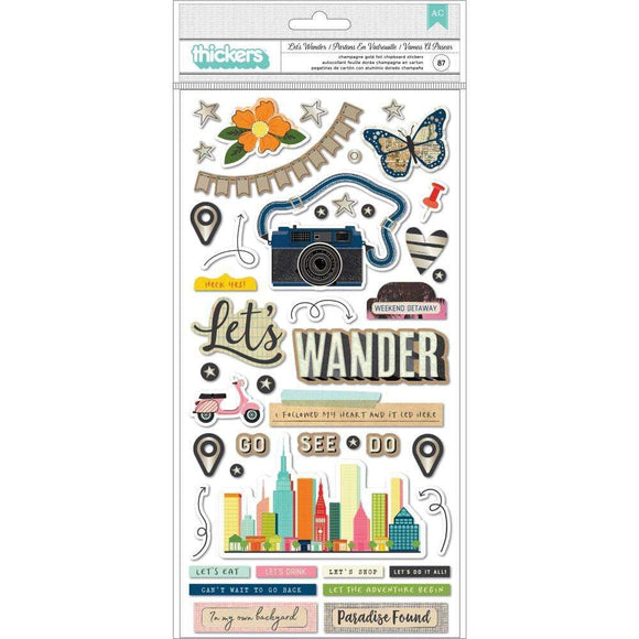 Scrapbooking  Vicki Boutin Let's Wander Thickers Stickers 84/Pkg Let's Wander Phrase/Chipboard Paper 12x12