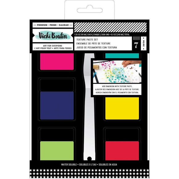 Scrapbooking  Vicki Boutin Mixed Media Texture Paste Set (6) Colors & (1) Palette Knife Paper 12x12