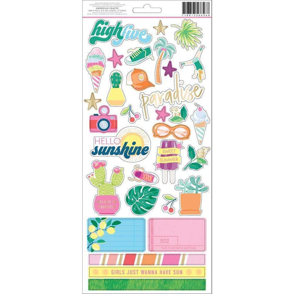 Scrapbooking  Dear Lizzy Here & Now Cardstock Stickers 69/Pkg Puffy Stickers