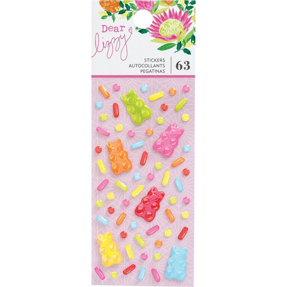 Scrapbooking  Dear Lizzy Here & Now Epoxy Stickers 63/Pkg Puffy Stickers