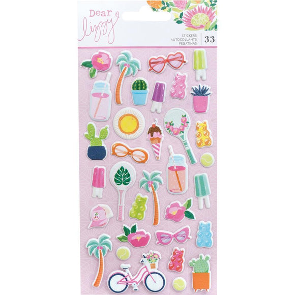 Scrapbooking  Dear Lizzy Here & Now Puffy Stickers 33/Pkg Mini Icons Puffy Stickers