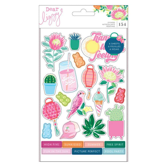 Scrapbooking  Dear Lizzy Here & Now Sticker Book Shapes W/Gold Foil Accents Puffy Stickers