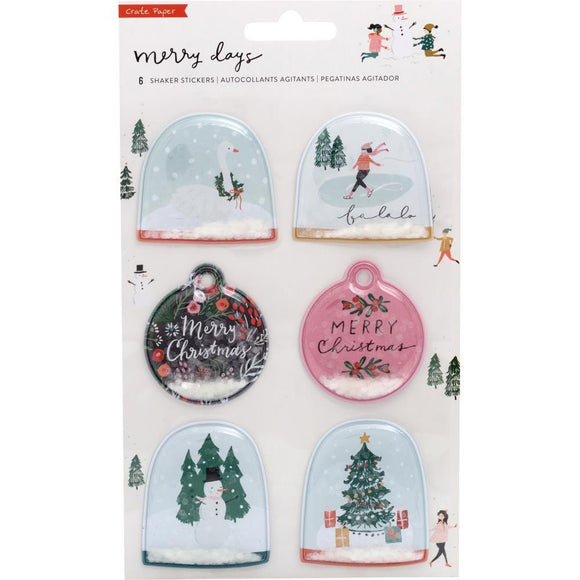 Scrapbooking  Merry Days Shaker Stickers 6/Pkg Gold & White Glitter Accents Puffy Stickers