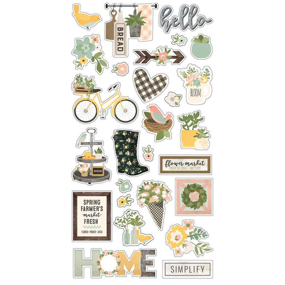 Scrapbooking  Spring Farmhouse Chipboard Stickers 6x12