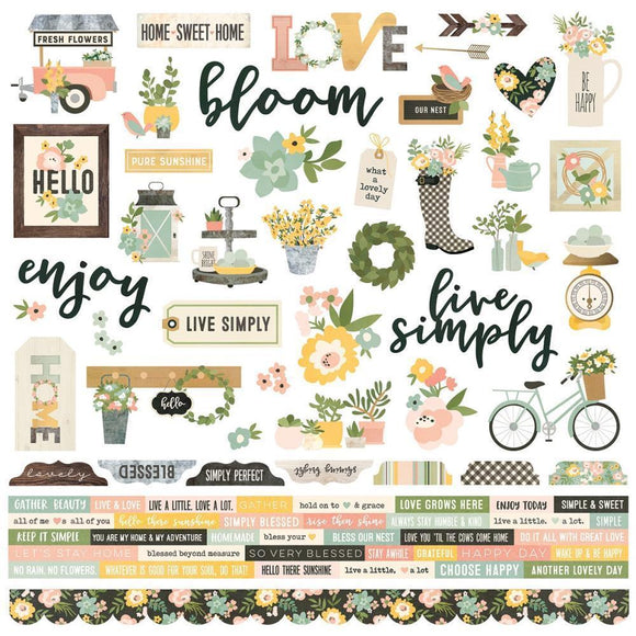Scrapbooking  Spring Farmhouse Combo Cardstock Stickers 12x12