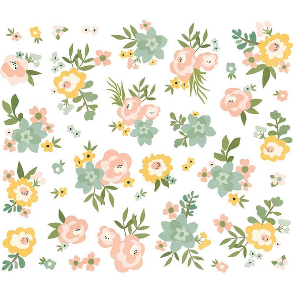 Scrapbooking  Spring Farmhouse Floral Bits & Pieces - 35 pieces