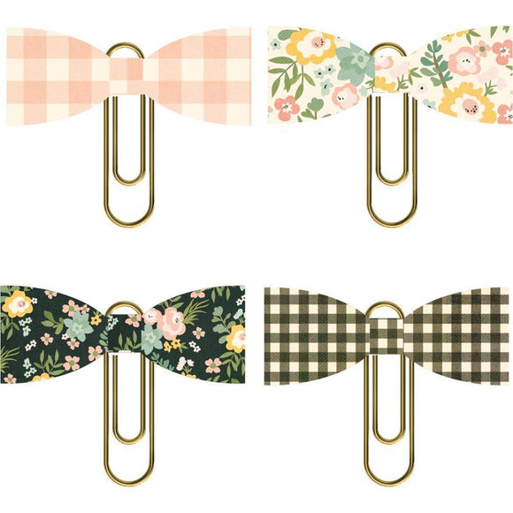 Scrapbooking  Spring Farmhouse Paper Bow Clips 4 pack