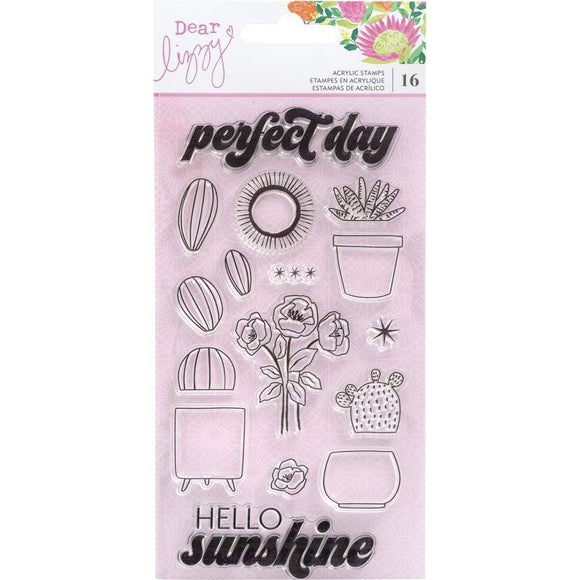 Scrapbooking  Dear Lizzy Here & Now Acrylic Stamps 16/Pkg Puffy Stickers