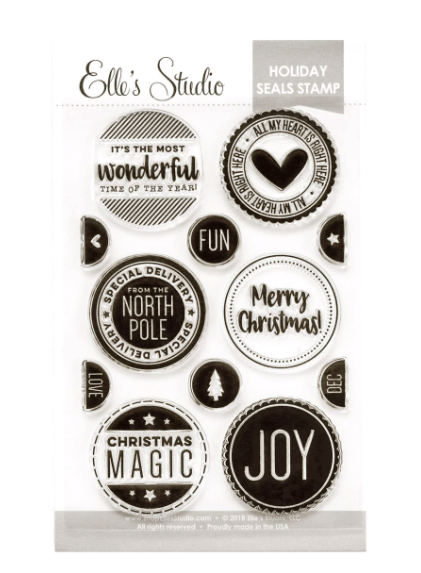 Scrapbooking  Elles Studio - Oh What Fun Stamp - Holiday Seals Stamp Set kit