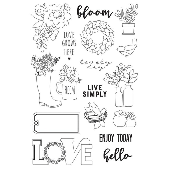 Scrapbooking  Spring Farmhouse Photopolymer Clear Stamps Live Simply