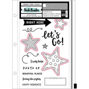 Scrapbooking  Vicki Boutin Mixed Media Stamps & Dies Let's Go W/Magnetic Sheet & Pouch Paper 12x12