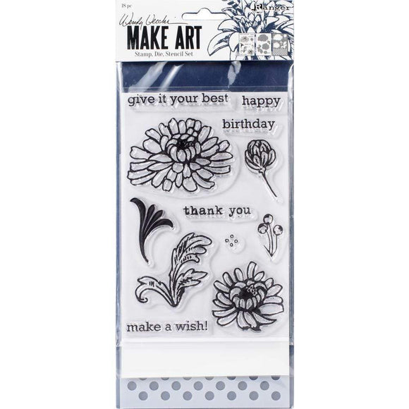 Scrapbooking  Wendy Vecchi Make Art Stamp, Die & Stencil Set Thank You Stamps