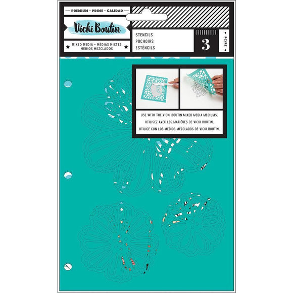Scrapbooking  Vicki Boutin Mixed Media Stencils 3/Pkg Field Notes, Flutter Stencil