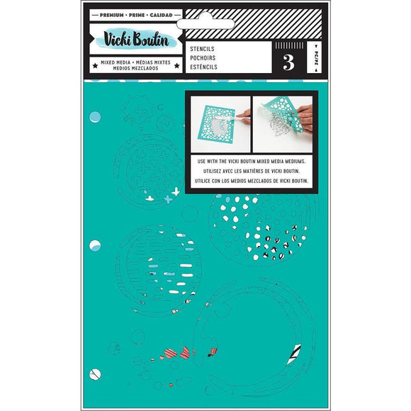 Scrapbooking  Vicki Boutin Mixed Media Stencils 3/Pkg Field Notes, Ink Spill Stencil