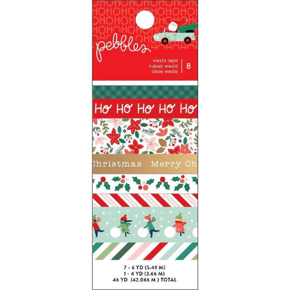 Scrapbooking  Merry Little Christmas Washi Tape 8/Pkg W/Gold Foil Accents stickers